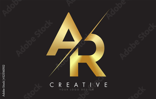 Photo AR A R Golden Letter Logo Design with a Creative Cut.