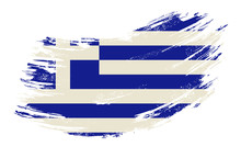 Greek Flag Grunge Brush Backgr...