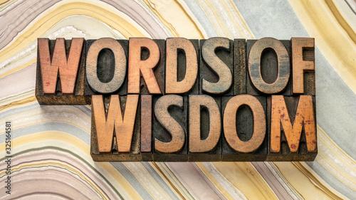 Fotografía words of wisdom text in wood type