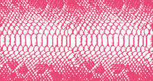 Distressed Overlay Texture Of Crocodile Or Snake Skin Leather, Grunge Vector Background Pink And White