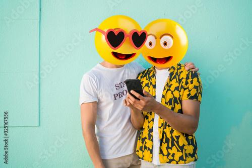 Emoji head man Canvas Print