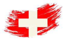 Swiss Flag Grunge Brush Background. Vector Illustration.