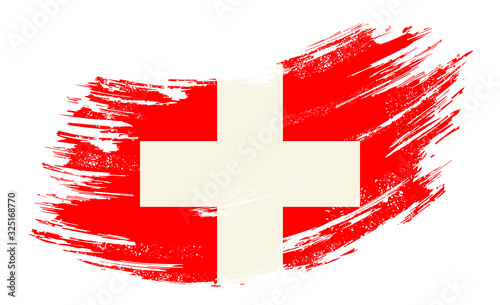 Fototapeta Swiss flag grunge brush background. Vector illustration.