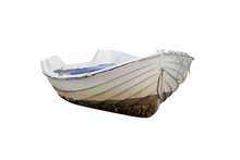 Wooden Fishing Boat Isolated On White Background