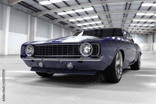 Obraz samochód  3d-illustration-muscle-blue-car-rendering-isolated-on-black-background-vintage-classic-sport