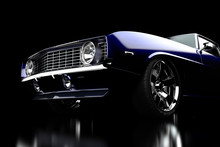 3D Illustration. Muscle Blue Car Rendering Isolated On Black Background. Vintage Classic Sport Car. 1969. Car Show. Wheels. Chevrolet Camaro
