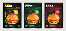 Fast Food Flyer Design Vector Template In A4 Size. Brochure And Layout Design. Food Concept.