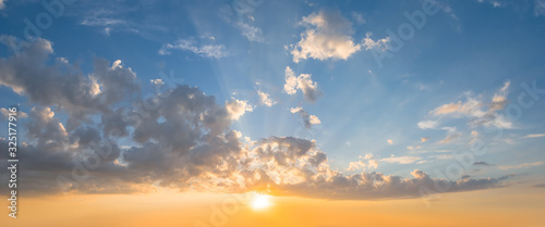 Fototapety, obrazy: dramatic sunset over a cloudy sky, evening outdoor background