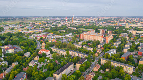 Fototapeta Beautiful panoramic Aerial view photo from flying drone on Klaipeda city center on a summer evening at sunset. Klaipeda, Lithuania (series) obraz na płótnie