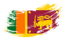 Sri Lanka Flag Grunge Brush Ba...