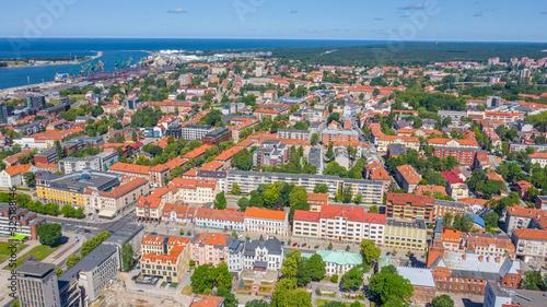 Fototapeta Beautiful panoramic Aerial view photo from flying drone on Klaipeda  a sunny summer day. Klaipeda, Lithuania (series) obraz na płótnie