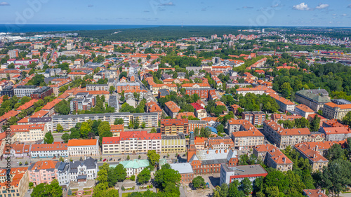 Fototapeta Beautiful panoramic Aerial view photo from flying drone on Klaipeda  a sunny summer day. Klaipeda, Lithuania (series) obraz na płótnie