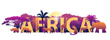 Vector Stock African Banner With Big Letters, Wild Animals And Exotic Plants Outlines. Savannah Horizontal Composition With Rising Sun, Jungle And Exotic Mammals. Isolated On White.