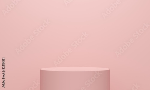 Obraz na plátně Pink abstract background with a cylindrical podium