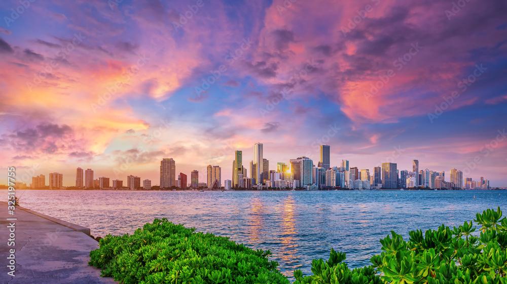 Fototapeta the skyline of miami while sunset