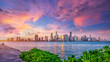 canvas print picture - the skyline of miami while sunset