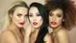 Beautiful models with red lips