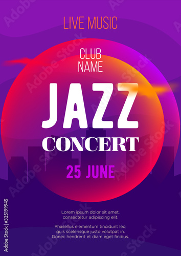 Vertical bright color music jazz background with graphic elements and text Wallpaper Mural