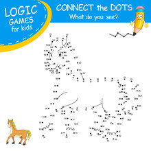 Connect The Dots By Numbers To Draw The Horse. Dot To Dot Education Game And Coloring Page With Cartoon Cute Horse Character. Logic Games For Kids. Education Card For Kids Learning Counting Number.