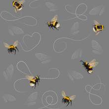 Bumblebee Seamless Pattern With Abstract Lines And Insect Wings On Gray