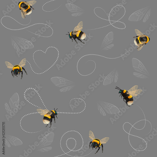 Bumblebee seamless pattern with abstract lines and insect wings on gray Fototapete