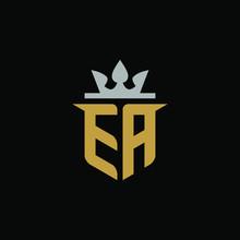 Initials Letter EA Shield King Logo Design