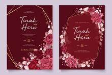 Elegant Maroon Floral Wedding Invitation Card