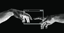 The Creation Of AI, The Hands Going To Touch Together Look Like The Michelangelo's Art Work. Cyberpunk/ Vaporwave Style Art Collage.