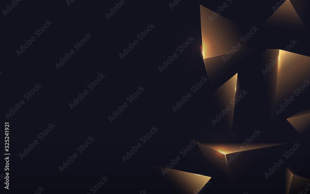 Abstract polygonal pattern luxury gold on dark background. Vector illustration