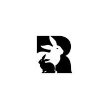 Letter R With Rabbit Logo Design Vector