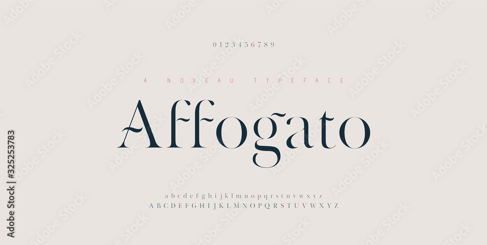 Fototapeta Elegant alphabet letters font and number. Classic Copper Lettering Minimal Fashion Designs. Typography fonts regular uppercase and lowercase. vector illustration