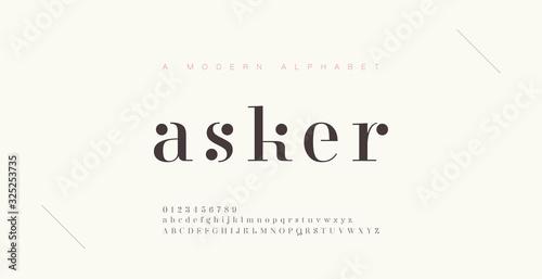 Elegant alphabet letters font and number Fototapeta