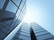 View Of High Rise Glass Office Building On Blue Sky Background,Business Concept Of Future Architecture,looking Up To The Sun Light On The Top Of Building. 3d Rendering