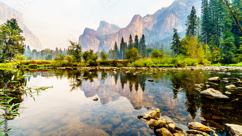 Reflections of Cathedral Rocks, Taft Point and Sentinel Dome in the Merced River Wallpaper Mural