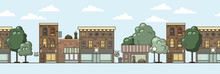 Flat Design Urban Colorful Landscape Seamless Pattern. Spring Town Banner. Vector Stock Illustration Headline