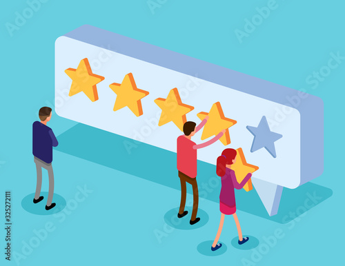 Clients choosing satisfaction rating and leaving positive review Fototapet