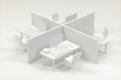 Office model with white background,abstract conception,3d rendering.