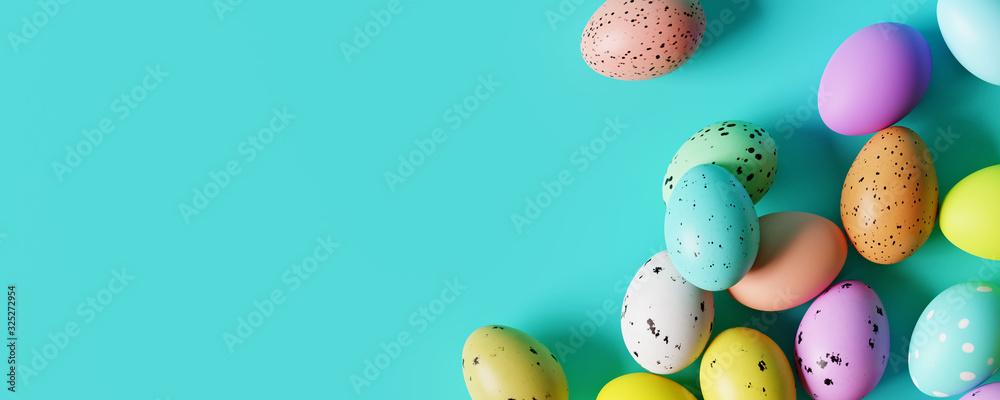 Fototapeta Colorful Easter eggs on pastel blue background. Creative design. 3d rendering