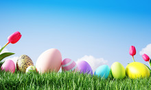 Easter Background Colorful Eggs And Tulip On Meadow With Beautiful Sky. 3d Rendering