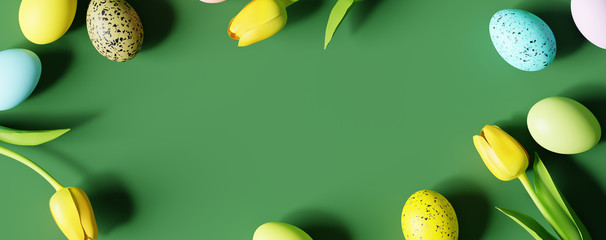 Easter eggs and yellow tulip with copy space on green background. Creative design. 3d rendering