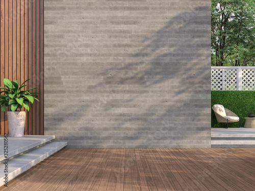 Fotografia Contemporary loft style balcony 3D render,There are wooden floors, empty concrete walls decorating living area with rattan furniture with white fences