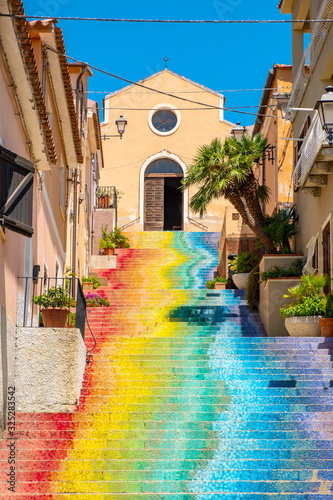 Arzachena, Sardinia; Italy - Famous stairs of Saint Lucia leading to the Church Wallpaper Mural