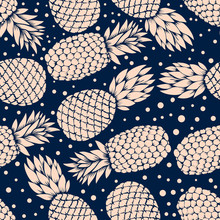 Seamless Pattern With Vintage Illustrations Of Pineapples. Design Element For Poster, Clothes Decoration, Card, Banner. Vector Illustration