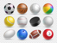 Realistic Balls Set For Various Sports Games. Tennis, Baseball, Soccer And Ice Hockey Sports Equipment Isolated On Transparent Background. Sports Competition And Outdoors Activity Vector Illustration.