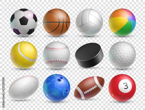 Fotografia, Obraz Realistic balls set for various sports games