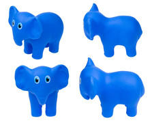 Toy For The Bathroom On A White Background, Blue Elephant