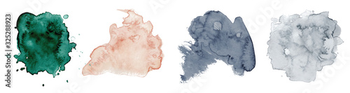 Abstract watercolor green, pink and grey shapes on white background. Color splashing hand drawn vector