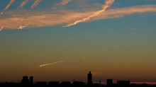 Skyline With Deep Blue Sky With Clouds