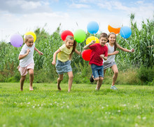 Children Running With Air Ball...