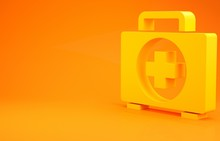 Yellow First Aid Kit Icon Isolated On Orange Background. Medical Box With Cross. Medical Equipment For Emergency. Healthcare Concept. Minimalism Concept. 3d Illustration 3D Render